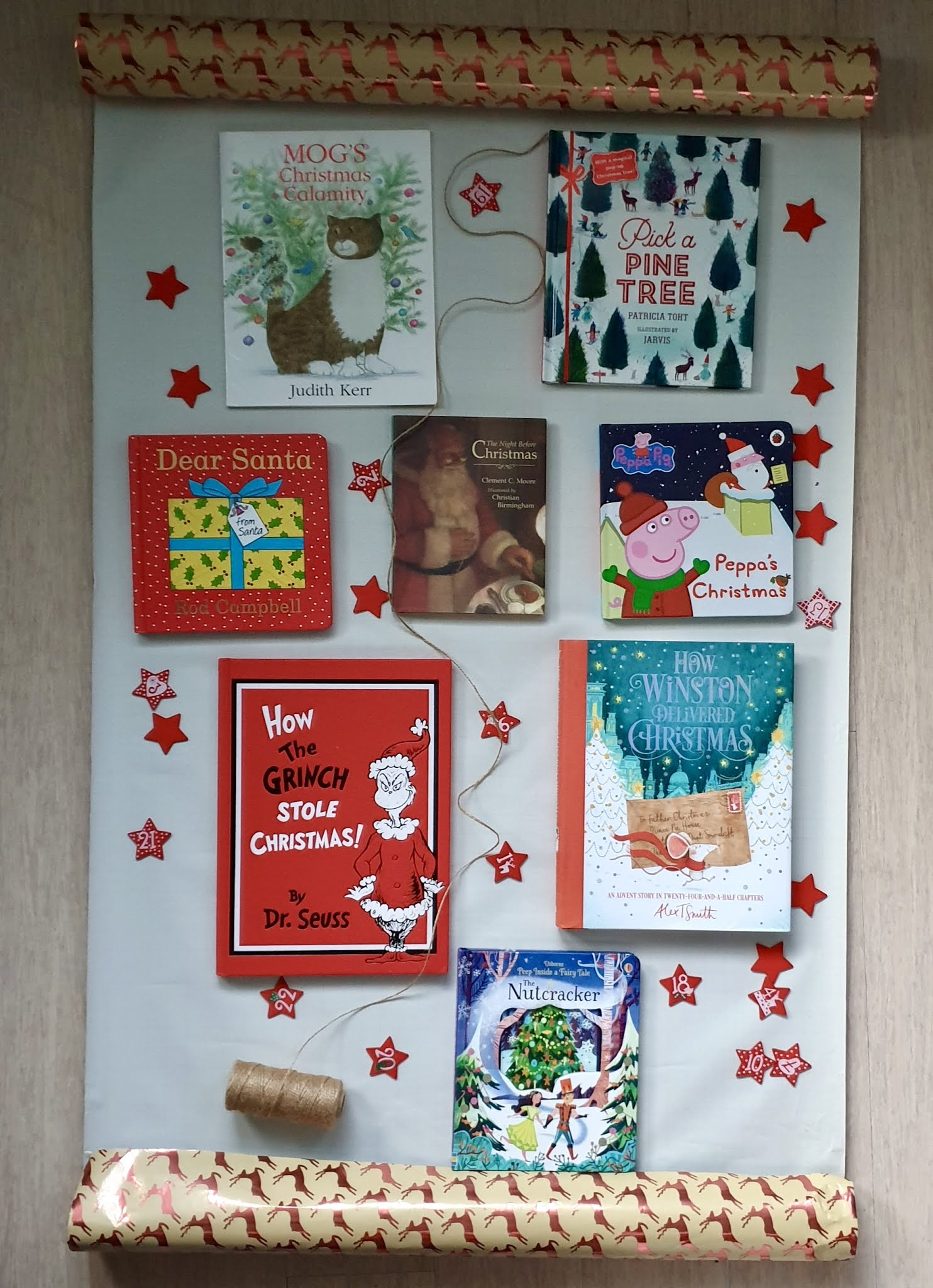 kids christmas books on wrapping paper