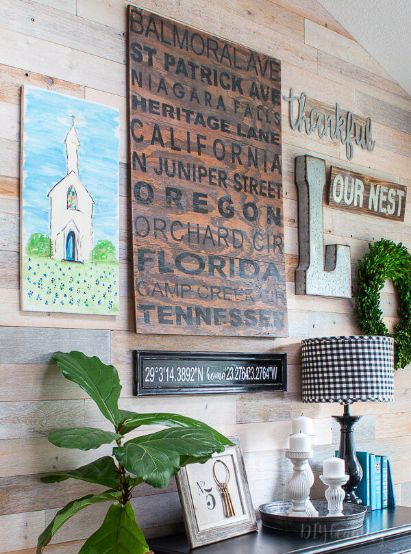 gallery wall with DIY projects