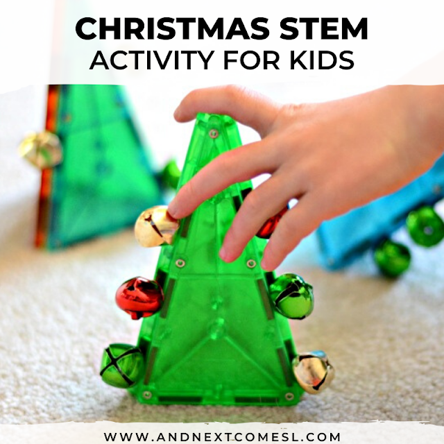 Looking for Christmas STEM activities? Try this science activity using Magna-Tiles & jingle bells