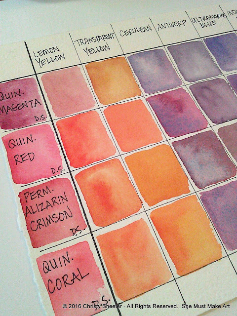 A color mixing grid with watercolor.  © 2018 Christy Sheeler.  She Must Make Art.  All Rights Reserved.