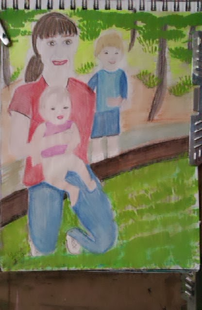 Mother-and-babies-sketch-by-gloriapoole; watercolors; 2013