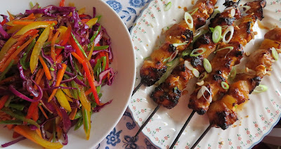 Chicken Satay Skewers and Rainbow Salad