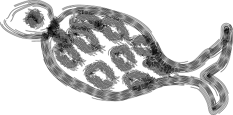 Fish Vector Clipart black & white 2324