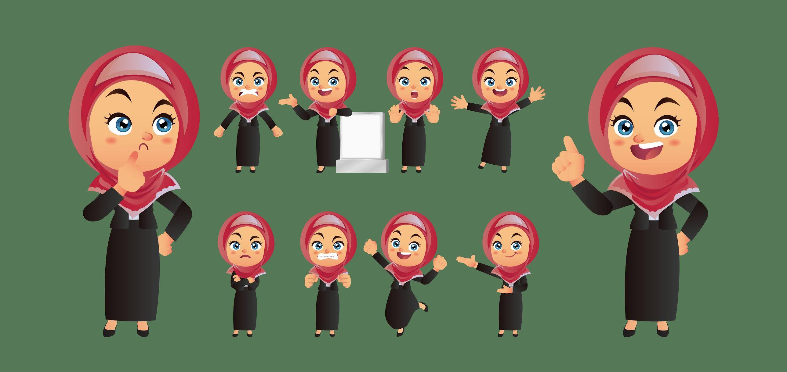 مجموعة تصميمات اطفال مسلمات محجبات جميلات بصيغة فوتوشوب فيكتور