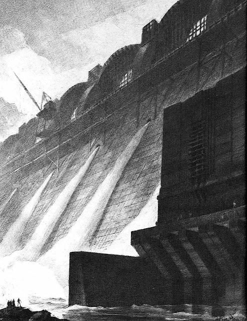a Hugh Ferriss drawing of a massive dam