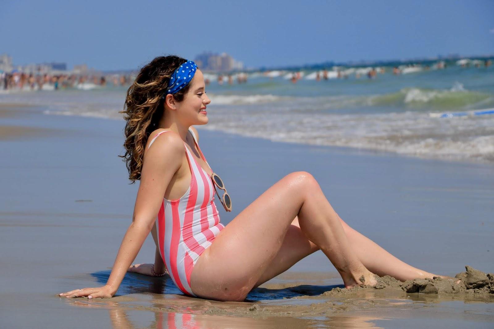Nyc fashion blogger Kathleen Harper on Rockaway Beach, New York.