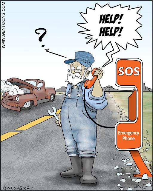 "Lonely highway, an elderly pickup truck is pulled off to one side, steam billowing out of the engine.  in the foreground, an orange Emergency Phone with the word SOS painted on the side.  The man in overalls is holding a wrench in one hand, and the telephone receiver in the other hand. he has a puzzled look on his face.  coming from the receiver of the telephone is a shrieking voice that yells, ""Help!  Help!"""