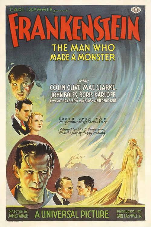 Frankenstein, Man Who Made a Monster - Vintage Classic Movie Poster, classic posters, free download, free posters, free printable, graphic design, horror movie, movies, printables, retro prints, theater, vintage, vintage posters, vintage printables
