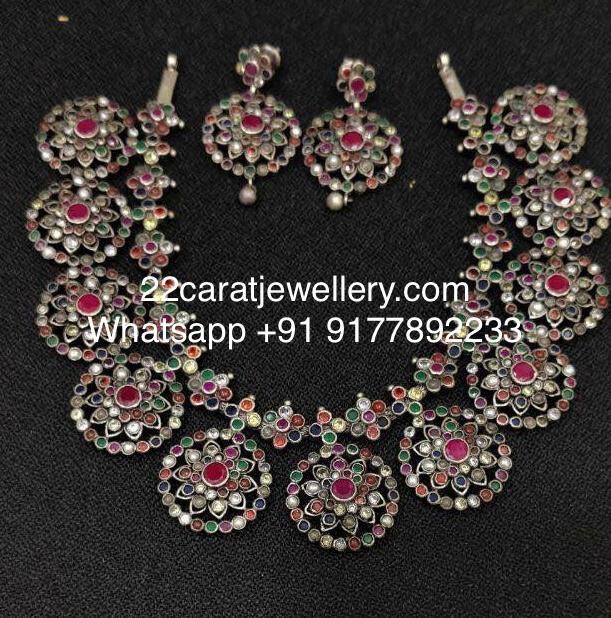 Navaratan Stone Oxidized Necklace