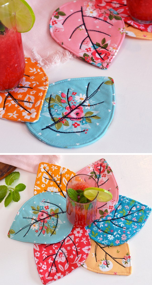 Quilted Leaf Coaster - Tutorial