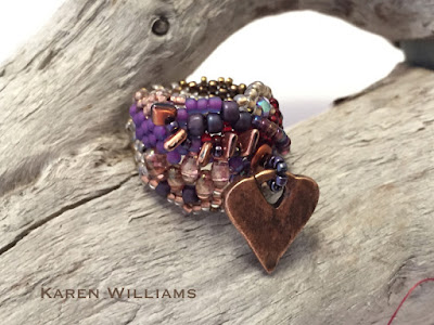 Prickly Heart freeform peyote ring by Karen Wiliams