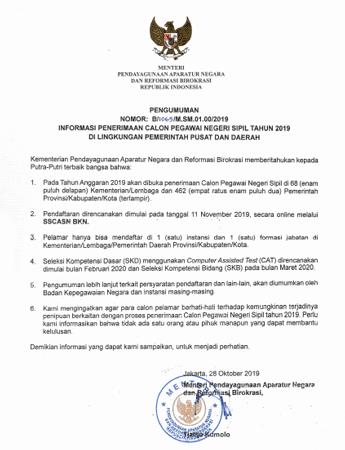 surat resmi MenPAN RB tentang pengumuman penerimaan cpns 2019