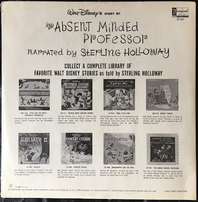 Disneyland Records vinyl, ST-1911, Sterling Holloway,Flubber, Fred MacMurray, 1961, Back cover