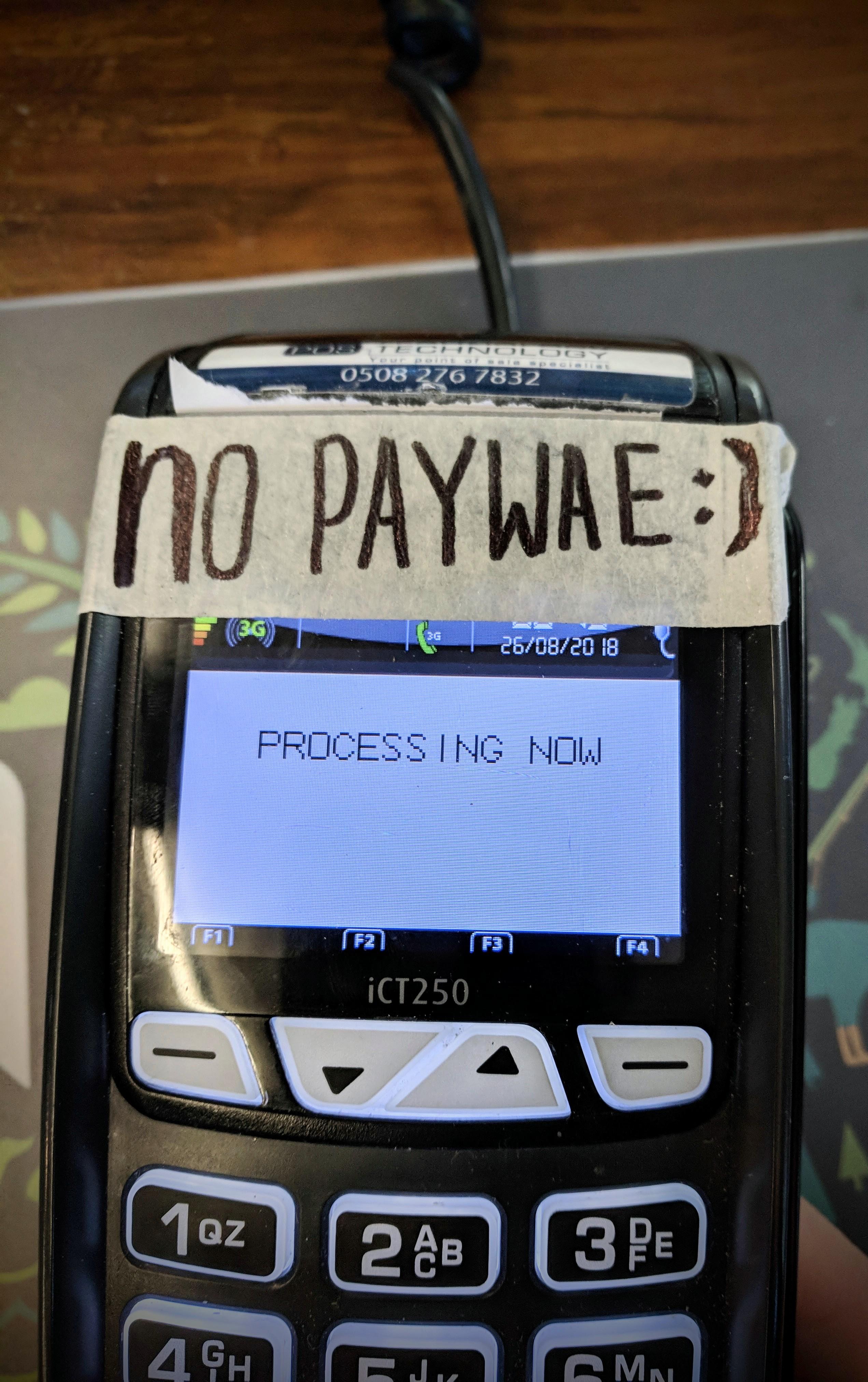 'No paywave' sign