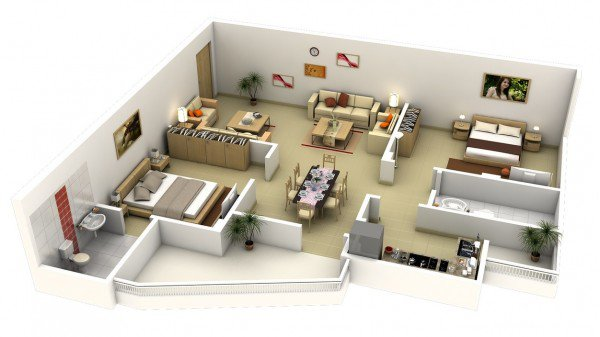 Impressive Two Bedroom 3d Floor Plans With Combined Living Room Dining
