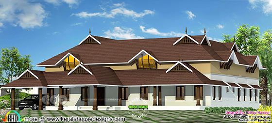 Traditional Kerala house rendering
