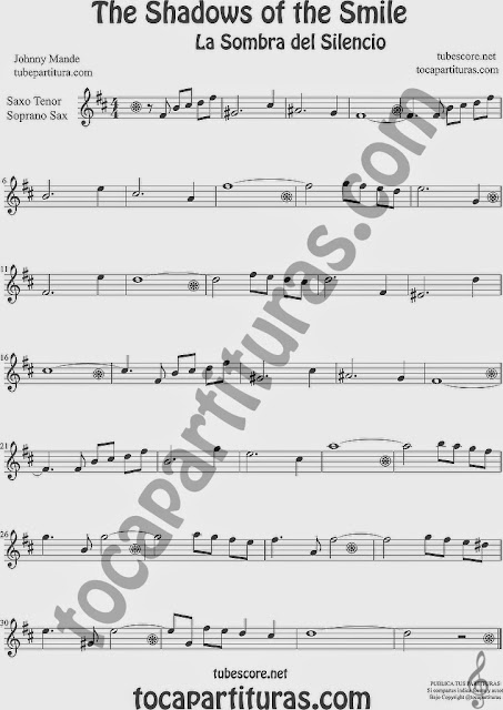 The Shadows of Your Smile Partitura de Saxofón Soprano y Saxo Tenor Sheet Music for Soprano Sax and Tenor Saxophone Music Scores La Sombra de tu Sonrisa