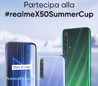 Logo Concorso ''Realme X50 Summer Cup'' : vinci gratis Smartphone Realme e buoni acquisto GameStopZing da 50 euro