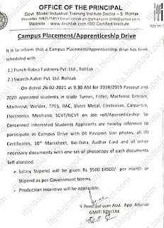 ITI Apprenticeship Campus Placement Drive at Govt Model ITI  Rohtak, Haryana On 26-02-2021 at 9:30 AM