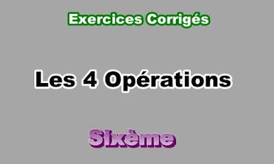 Exercices Corrigés des Opérations 6eme en PDF