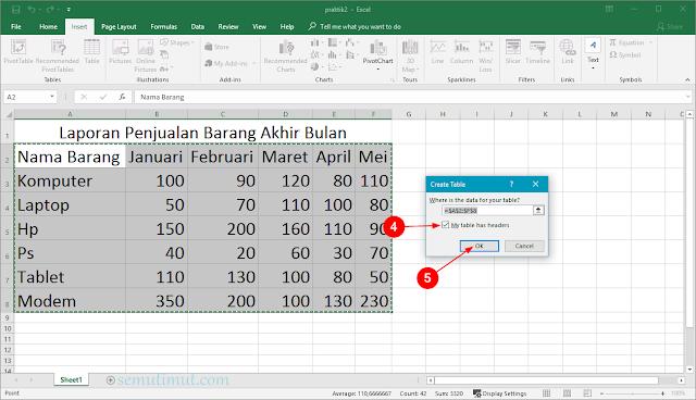 cara membuat tabel di excel bagi pemula