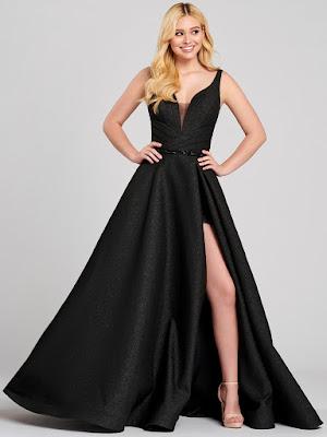 Ellie Wilde A-line Black Color Prom Dress