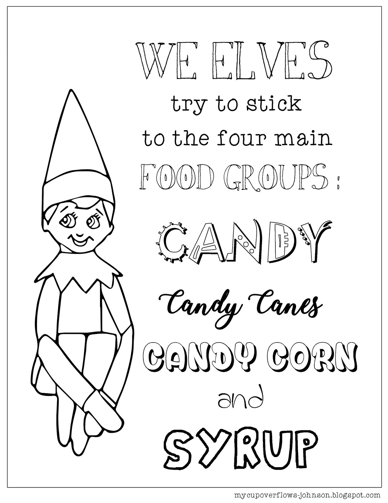 My Cup Overflows Elf On The Shelf Coloring Page