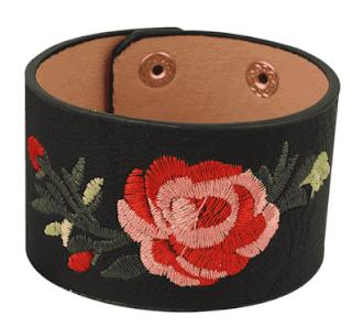 zaful black leather bracelet, zaful crna kožna narukvica, floral, cvjetni motivi, vintage