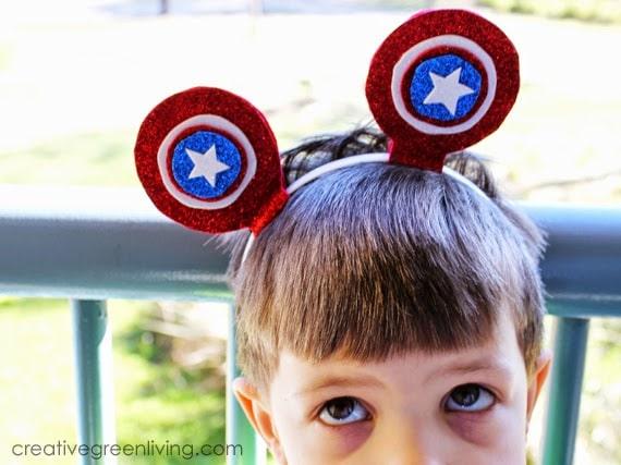 little boy wearing captain america mouse ears from sparkle ears at Walt Disney World's Animal kingdom