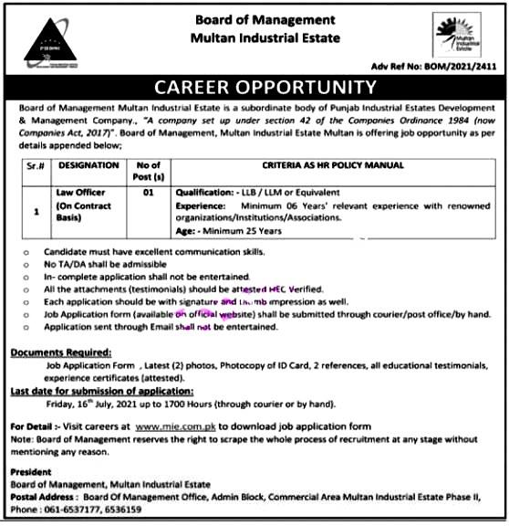 Latest Jobs in Board of Management Multan Industrial Estate 2021-Online Apply
