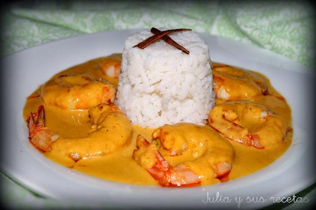 Langostinos al curry con arroz a la canela. Julia y sus recetas