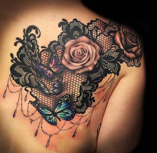 dantel dövmeleri lace tattoos 29