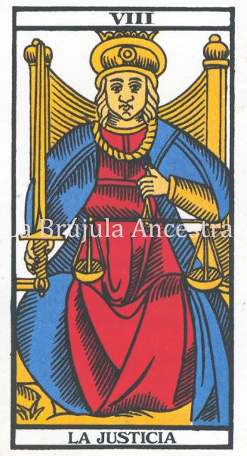 Arcano de la Justicia del Tarot de Marsella