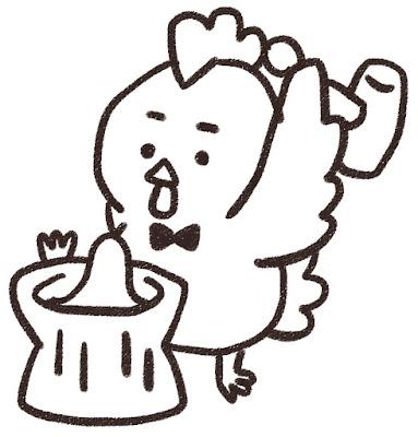 餅つきをするニワトリのイラスト(酉年・白黒線画)