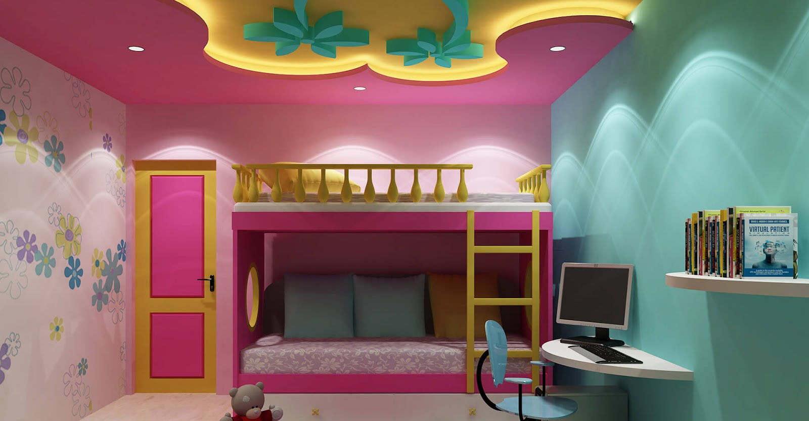 Top 25 false ceiling design options for kids rooms 2018 for Latest children bedroom designs