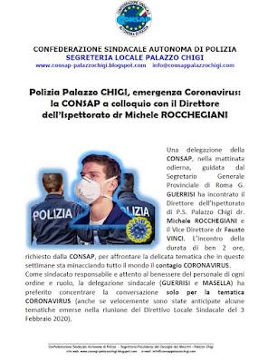 Comunicato CONSAP Palazzo Chigi  del 14 Marzo 2020