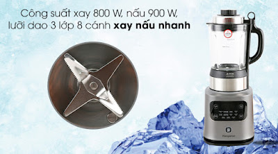 Máy xay nấu đa năng Kangaroo KG175HB1 - Lưỡi dao 3 lớp 8 cánh, công suất xay 800 W, công suất nấu 900 W