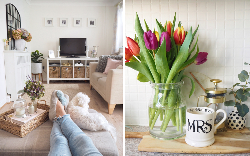 Home and interior styling tips you can steal and copy in your own home. How to style accessories on coffee tables, footstools and shelves. House interior design and accessorising on a budget.