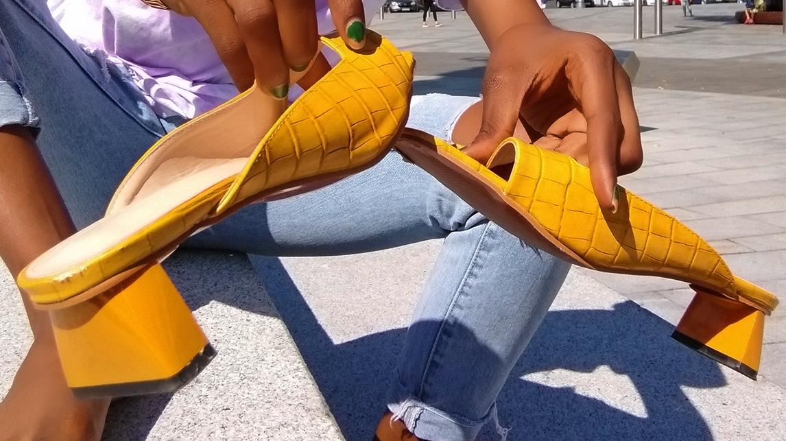 Block heel slipper