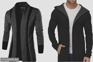 Two different images of mens cardigans
