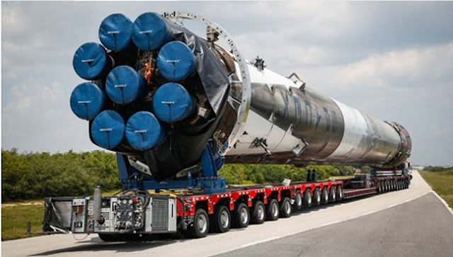 Falcon 9 rocket booster being transported on the road (Source: Aerotime Extra, April 2018)