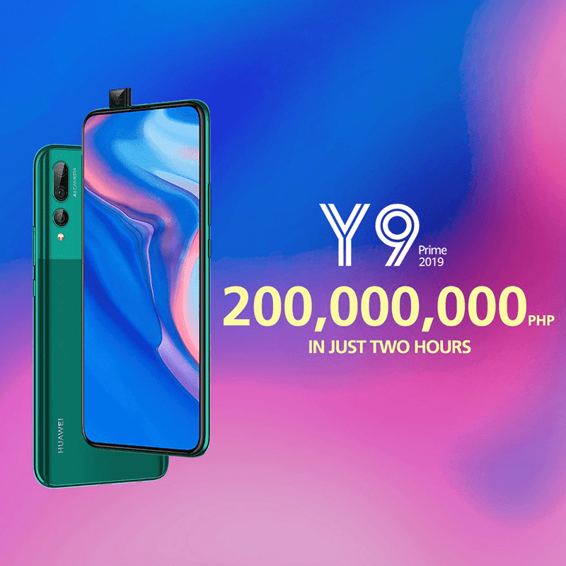 Huawei sold PHP 200,000,000 worth of Y9 Prime 2019 in 2 just 2 hours!