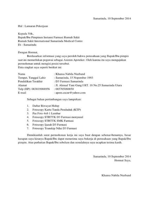 Contoh Surat Lamaran Kerja untuk Berbagai Kalangan (via: sekolahnesia.com)