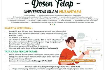 Lowongan Kerja Dosen Tetap Uninus Bandung