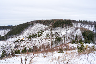 Masyw Dzikowca w pełnej krasie; po lewej widoczny wierzchołek Chełmca, z prawej ścieżka, którą schodziliśmy z Dzikowca