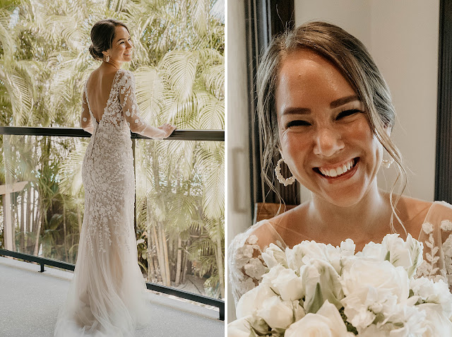 Bride looking down Balcony and holding bouquet The Manor on St Lucie Crescent Wedding captured by Stuart Wedding Photographer Heather Houghton Photography
