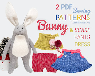 Easter bunny and clothes 2 sewing patterns PDF