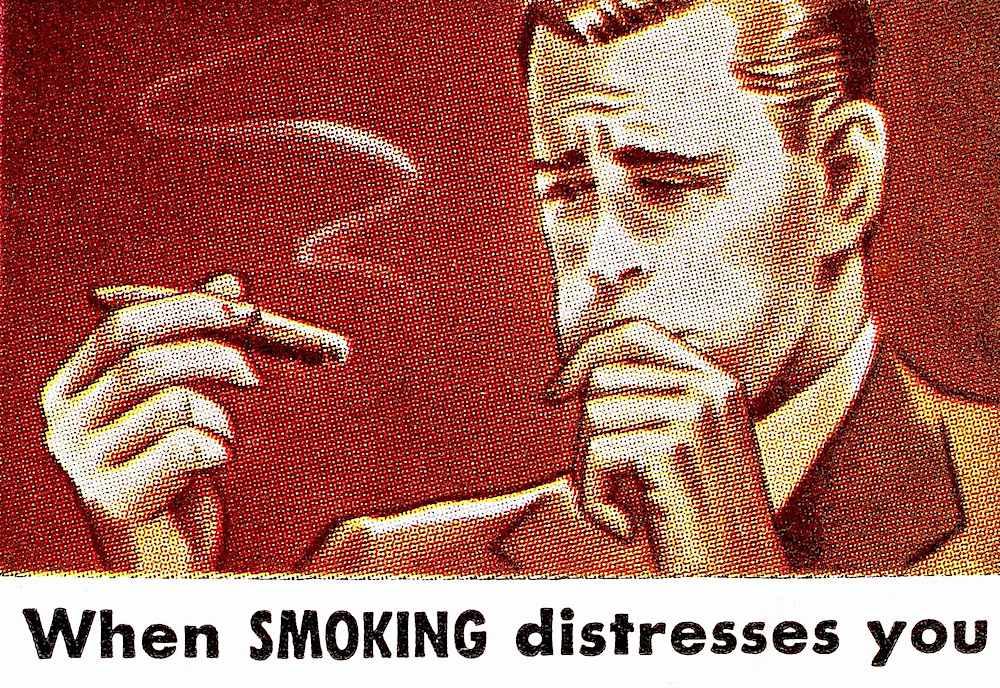 a vintage cigarette ad illustration, when smoking distresses you, cigar sick