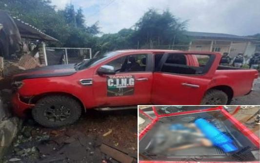 Sicarios del CJNG no tuvieron ni tiempo de carga su gas LP a su camioneta rotulada con siglas porque fueron abatidos por Guardia Nacional en Michoacán