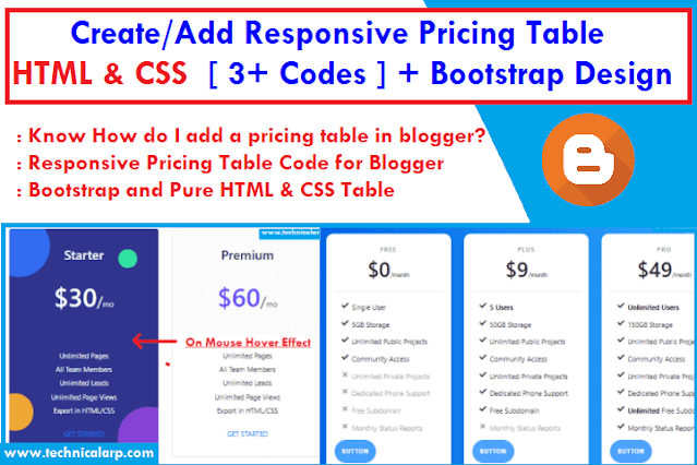 Add Responsive pricing table in Blogger Post CSS code